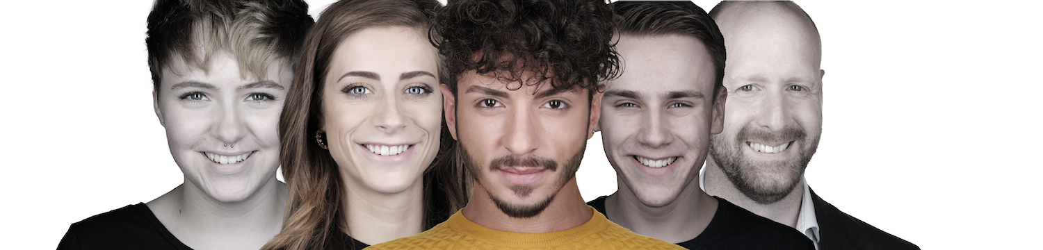 Five headshots of people smiling at the camera